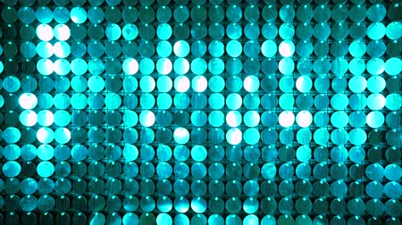 sequenza : Muro di scintillio cinetico turchese astratto in movimento. Sparkles brillante sfondo riflettente. Decorazione da night club. Può essere utilizzato come transizioni, aggiunto a progetti moderni, sfondi artistici. Filmati Stock
