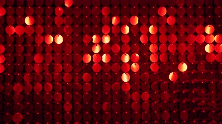 kinetik : Red sparkles shining reflective background. Abstract kinetic glitter wall moving. Night club decoration. Can be used as transitions, added to modern projects,art backgrounds. Stok Video