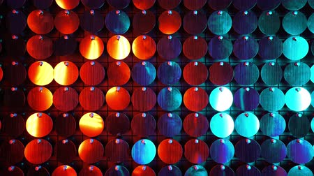 scena : Abstract red blue kinetic wall moving. Sparkles shining reflective background
