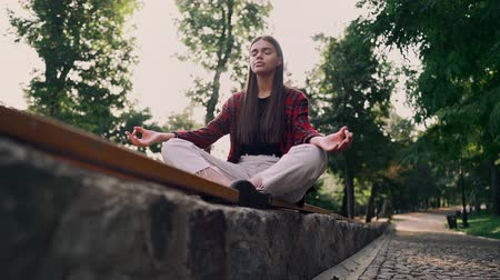 meditál : Peaceful girl doing yoga pose at park in the morning. Woman sitting in lotus pose and meditates. Slow motion. Stock mozgókép