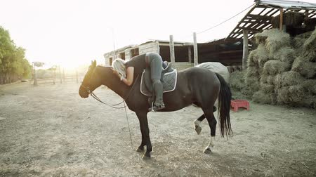 juba : Pretty horsewoman hugs and kisses horse on countryside ranch. Concept of love, friendship, farm animals. Slow motion. Stock Footage