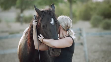 yele : Young woman hugs and kisses horse after training in corral on ranch. Concept of love, friendship, farm animals. Slow motion. Stok Video