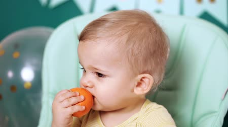 mandarinka : Cute baby boy sitting in his chair and eating delicious tangerine or orange. Birthday handsome toddler child with big eyes portrait. Funny reaction. Dostupné videozáznamy
