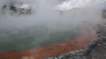 wai o tapu : Steam over Champagne Pool, New Zealand Stock Footage