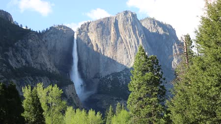 sierra nevada : Landscape with Upper Yosemite Fall, California Stock Footage