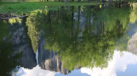 sierra nevada : Reflection in Merced River, California Stock Footage