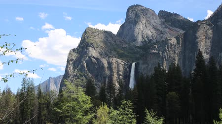 sierra nevada : Bridalveil Fall over Yosemite Valley, California Stock Footage