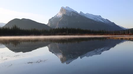 np : Mt Rundle and sunrise fog - Banff NP, Canada Stock Footage