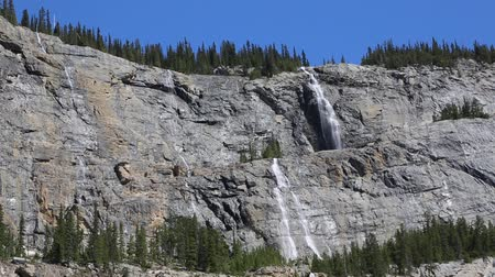 np : Waterfalls of Weeping Wall, Jasper NP, Canada Stock Footage