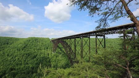 Виргиния : Landscape with New River Gorge Bridge - West Virginia Стоковые видеозаписи