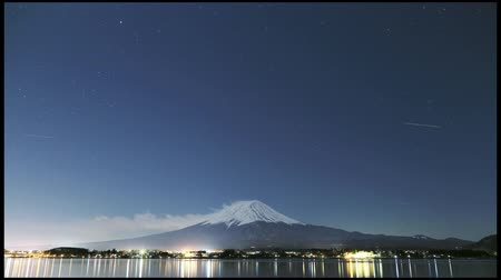 japan : timelapse of Mt. Fuji at night