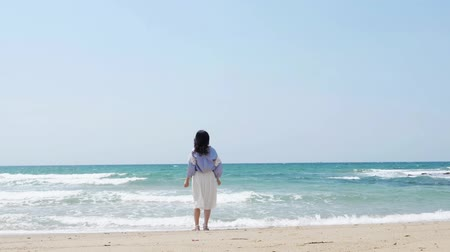 okinawa : Asian woman standing at the beach