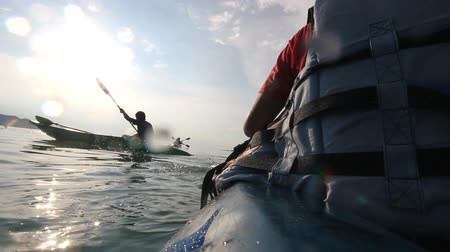kayak : canoeing, kayaking in the lake Stock Footage