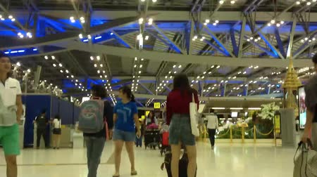 time journey : Time lapse People hurrying in the Suvarnabhumi airport, Thailand. Time Lapse