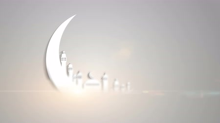 árabe : Islamic ramadan in white moon shape, particle background animation.Light ray effect. UHD 4k 3840x2160. Vídeos