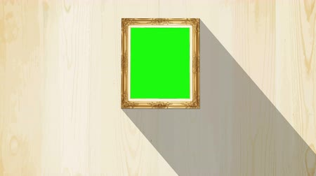 rama obrazu : Green screen old style picture wood frame with moving shadow background, Animation UHD 4k 3840x2160.