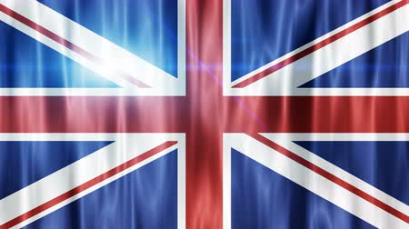 büyük britanya : Waving Flags of the United Kingdom. UK Flag animation background. UHD 4k 3840x2160 Stok Video