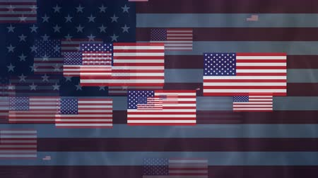 четверть : Waving USA flag and fire work explosion animation background. UHD 4k 3840x2160