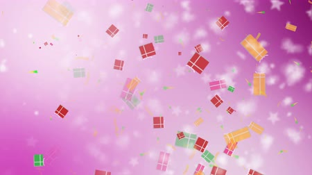 fitas : Christmas pink background with gift boxes and snowflakes falling