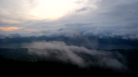 mysticism : time lapse with view from Batur volcano mountain in Bali Indonesia