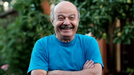 хорошее настроение : Charming handsome senior man in casual blue shirt keeping arms crossed and smiling while standing on formal garden. At first he is sad, but after hearing a joke begin to smile Стоковые видеозаписи