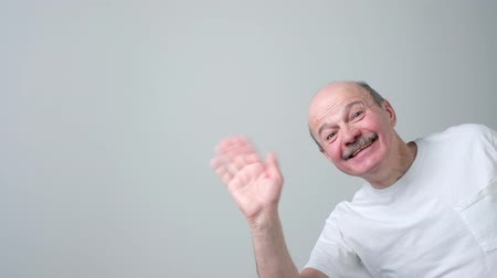 Attractive european man waiving hand in hello gesture while smiling cheerfully.