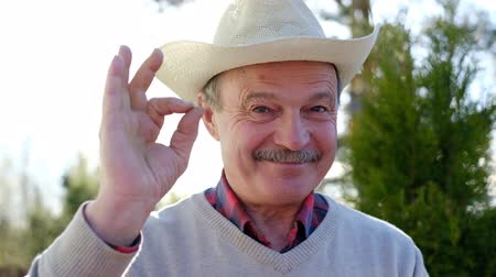 Mature man in hat smiling, doing ok sign with hand Stok Video