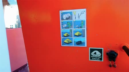sos : Sticker with instructions on tug deck. Life raft with manual inflatable for emergency use to escape.