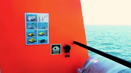 Sticker with instructions on tug deck. Life raft with manual inflatable for emergency use to escape.