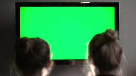 television set : Two young long-haired blond watching green TV screen and suddenly turn their heads together Stock Footage