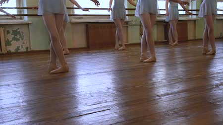 тапки : Young ballerinas stand in third position on frayed floor and begin to move aside.