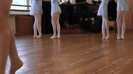 taniec towarzyski : Legs of balerinas who do exercises in pairs during ballet lesson. Wideo