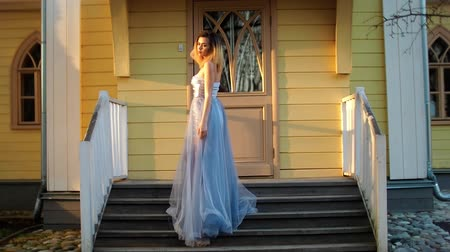 biustonosz : Beautiful skinny girl in silver and blue dress and in high heeles shoes poses standing on stairs during photo session in antique estate.