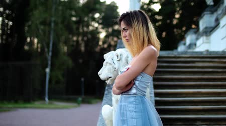 photoshoot : Attractive girl in silver and blue dress stands on stairs with stone balustrade near lion statue posing with arms across during photo shoot in antique estate. Sideview