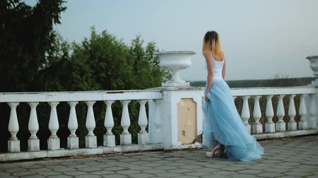 luxúria : Attractive skinny girl in white and blue dress goes along white stone balustrade stops near flowerpot and poses during photo shoot.