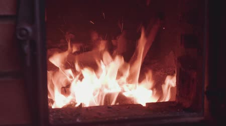 wood burner : Fire burns behind glass in a brick oven