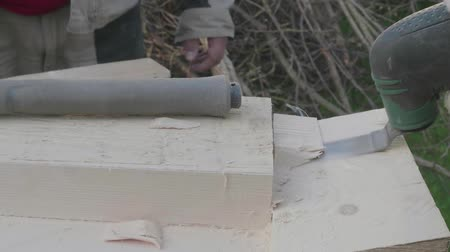 обрамление : Carpenters work with elecrical portable chisel