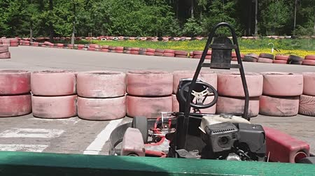 roadster : People drive karting cars on karting track. Stock Footage