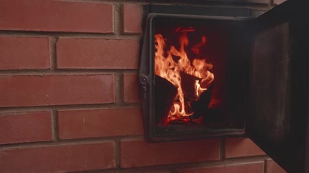 otthonos : View of flame in fireplace made of red brick. Slow motion view Stock mozgókép