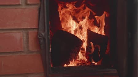 coque : Spirts of flame in furnace with door opened. Slow motion view Stock Footage