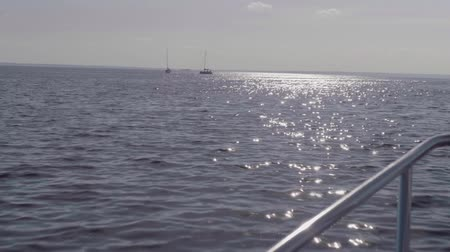 portador : View of two yachts and sparkle on water during dusk Stock Footage