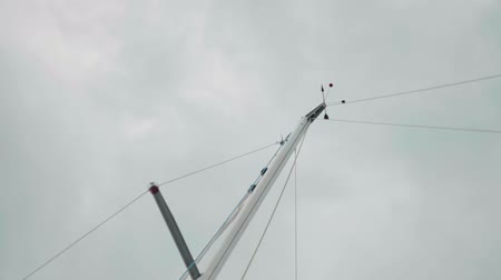 regaty : Wind direction and speed devices on top of sailing yacht mast