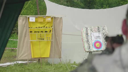 amendment : Blur back view of man shooting at yellow aim with animals drawn on it and is on target
