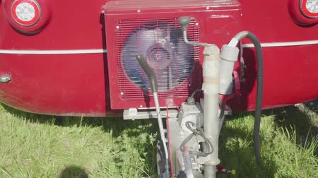 technics : View of working air conditioner compressor of auto trailer