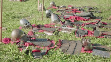 knightly : View of armor of ancient soldiers before reenactment of battle during festival