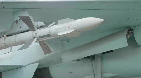 View of missile of SU-27 aircraft model. Stock Footage