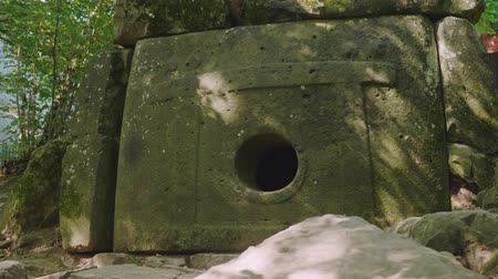 mitolojik : Ancient dolmen in shade of trees Stok Video