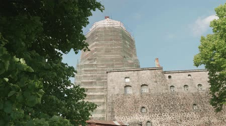 fince : Bottom view of Viborg fortress and tower being reconstructed