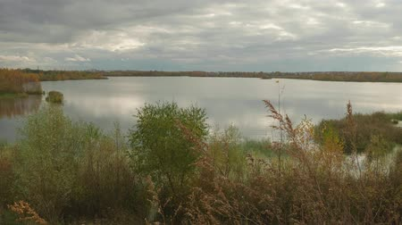 deep autumn : View of calm lake in autumn. Cloudy evening sky Stock Footage