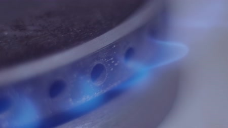 gas burner flame : Cooker begins to work and blue flame of natural gas come out from cooker Stock Footage